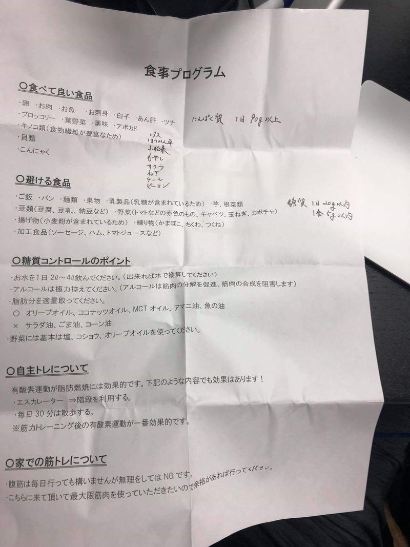 24/7Workoutの食事制限表
