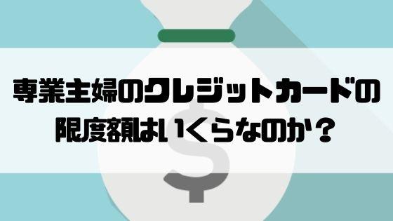 専業主婦_クレジットカード_限度額