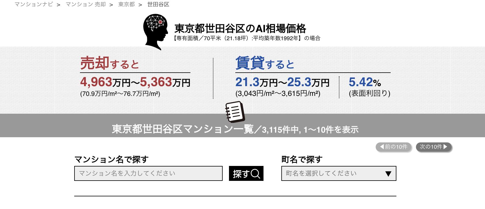 マンションナビ_売却・賃貸相場価格