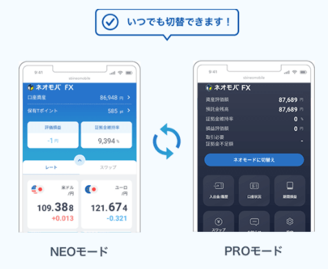 FXアプリ_ネオモバFXのモード切り替え機能