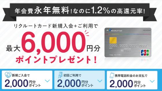 リクルートカードの入会キャンペーン画像