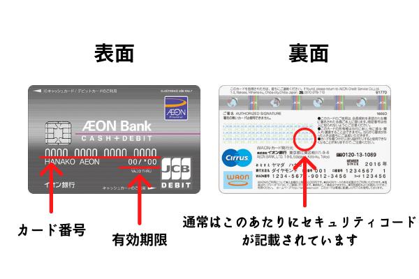 デビットカードのカード番号、有効期限、セキュリティコード