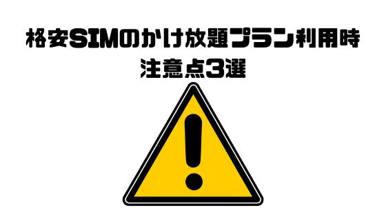 格安SIM_注意点