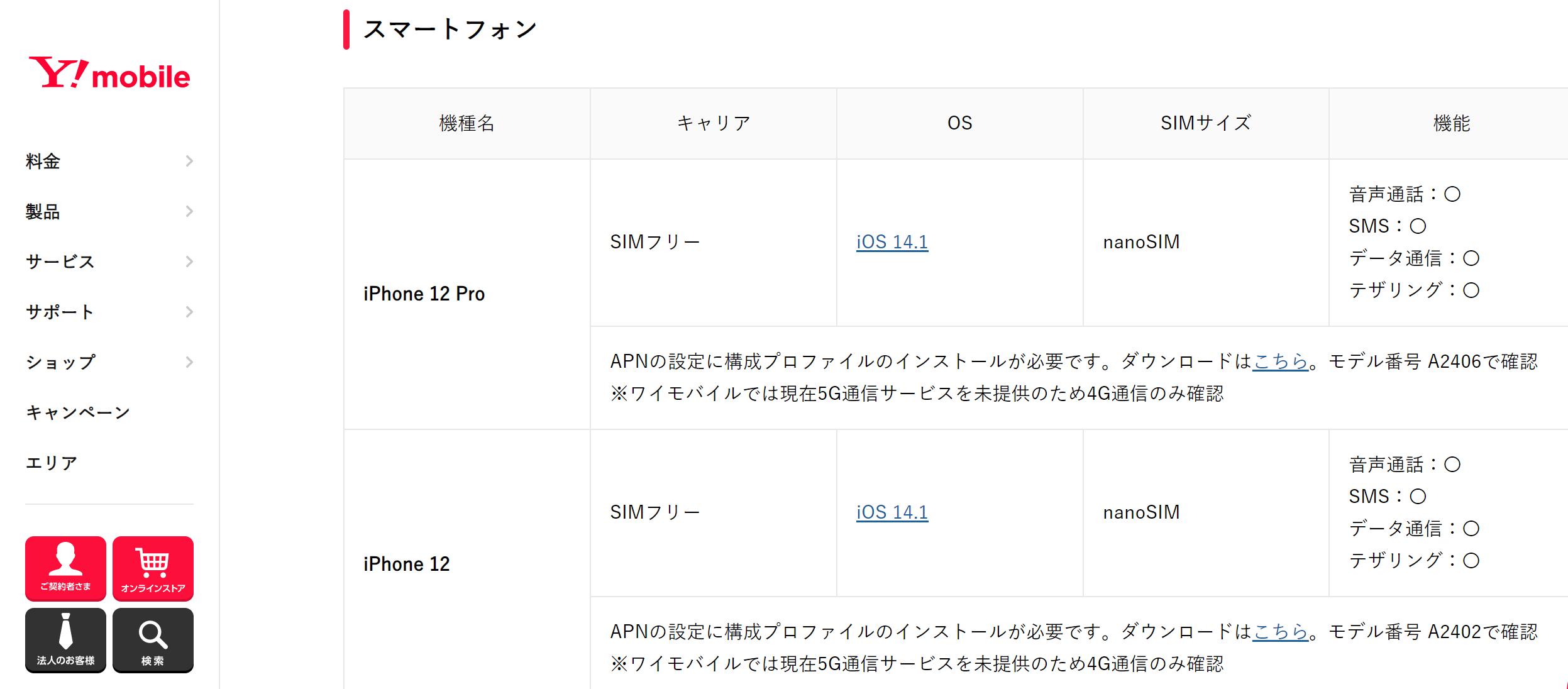 iPhone12_格安SIM_ワイモバイル_動作確認