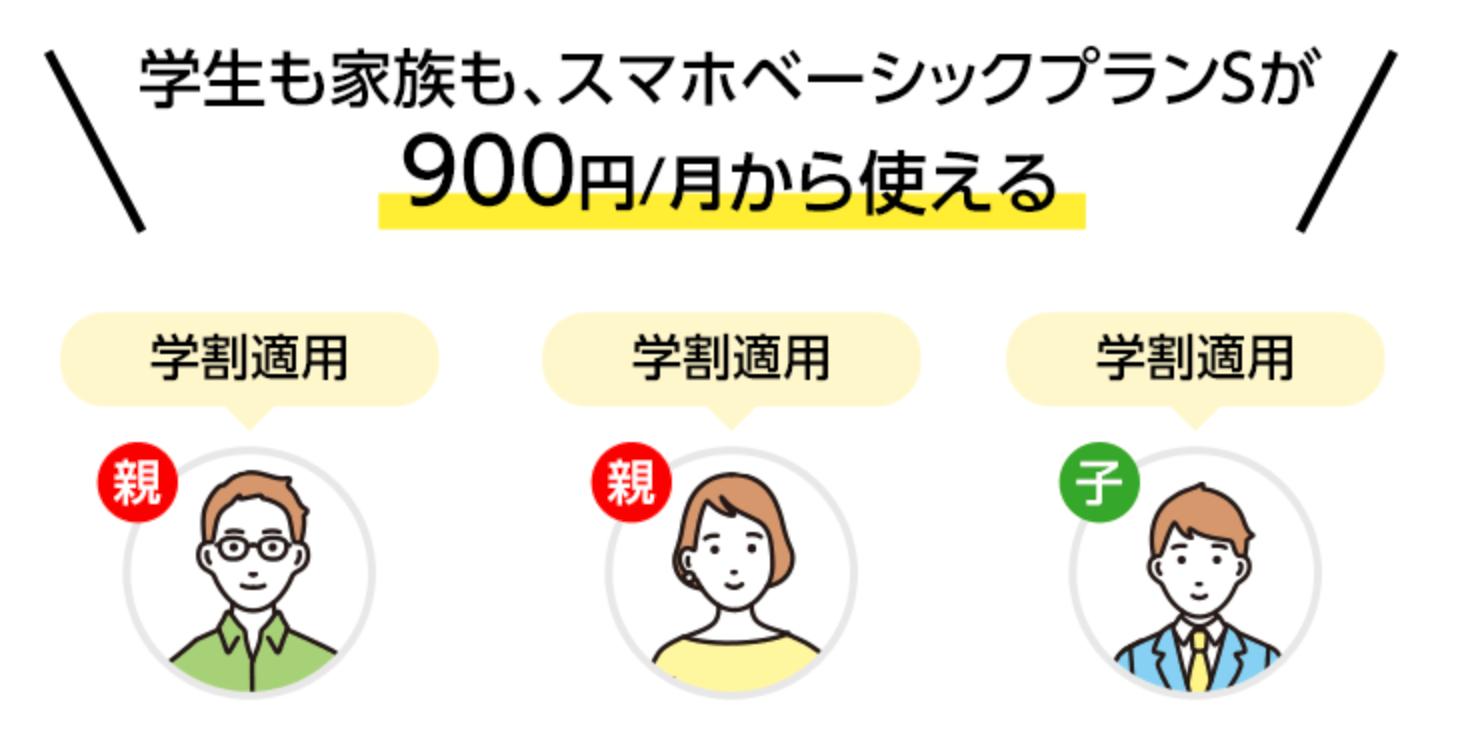Y!mobile_ワイモバイル_キャンペーン_ワイモバ学割_スマホベーシックプランS_900円から_適用