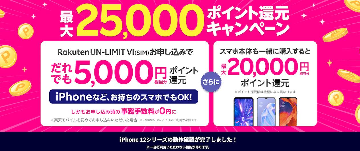 格安SIM_キャンペーン_楽天モバイル_Rakuten UN-LIMIT Ⅳお申し込みキャンペーン